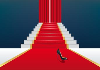 festival - tapis rouge - escalier - concept - cendrillon - symbole - film - chaussure - rideau