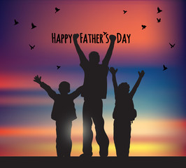 Fathers day children birds and sky greeting card