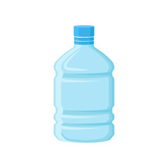 Large plastic bottle for drinking water. Empty blue container for storage liquids. Flat vector element for promotional banner or poster