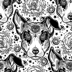 Vintage style traditional tattoo flash terrier dog seamless doodle pattern.