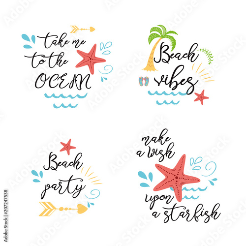 Set Of Summer Vacation Sea Posters Prints Banners Cards With Inspirational Quotes In Vector Star