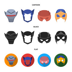 Helmet, mask on the head.Mask super hero set collection icons in cartoon,black,flat style vector symbol stock illustration web.