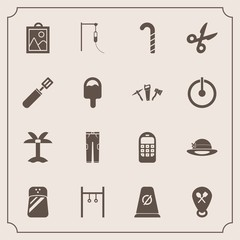 Modern, simple vector icon set with palm, image, street, athlete, leaf, picture, mobile, sport, spice, off, nature, telephone, icecream, old, seasoning, tool, road, restaurant, communication icons