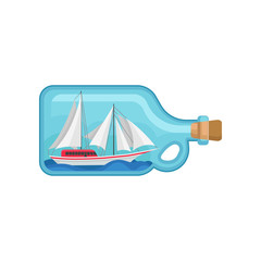 Miniature sea ship inside of glass bottle with cork. Model of marine vessel. Flat vector element for promo poster of sailing club