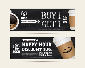 Coffee gift voucher coupon cafe beverage, buy 1 get free, happy hour concept promotion advertising