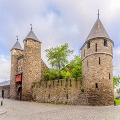 View at the wall and old gate (Helpoort) to Maastricht - Netherlands
