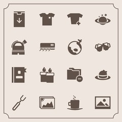 Modern, simple vector icon set with candle, cup, directory, white, image, hat, coffee, earth, spoon, picture, space, decoration, frame, style, dinner, new, fire, fashion, web, restaurant, fork icons