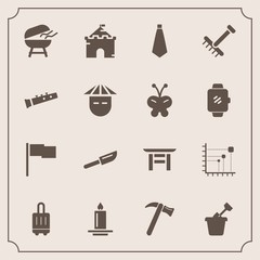 Modern, simple vector icon set with medieval, diagram, sign, equipment, shrine, flag, wrench, travel, business, fashion, sand, torii, knife, building, meat, grill, japanese, cutlery, play, bbq icons