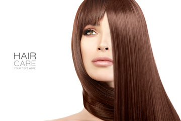 Hair salon concept. Beauty model girl with healthy straight hair