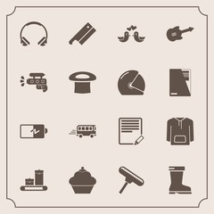 Modern, simple vector icon set with full, sound, jacket, leather, bag, clothing, pigeon, meat, animal, paint, edit, travel, music, footwear, doughnut, transport, energy, style, love, electricity icons