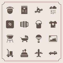 Modern, simple vector icon set with menu, image, shipping, barbecue, technology, dessert, space, japanese, airplane, picture, young, stroller, frame, food, doughnut, orbit, rain, sweet, travel icons