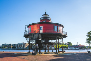 baltimore,md,usa. 09-07-17: Seven Foot Knoll Lighthouse, baltimore  inner harbor  on sunny day.