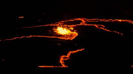 Canvas Prints Volcano Erta Ale volcano crater, melting lava splash, Danakil depression Ethiopia