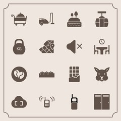 Modern, simple vector icon set with cloud, service, restaurant, old, fruit, bunny, mobile, map, vacuum, ringing, rabbit, entrance, kilogram, sweet, cable, atlas, apple, door, box, bar, healthy icons