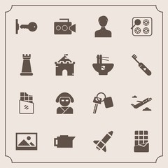 Modern, simple vector icon set with food, vehicle, dessert, oven, beautiful, handle, account, japan, picture, drink, sweet, plane, cafe, user, flight, old, car, travel, rocket, equipment, sign icons