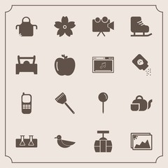 Modern, simple vector icon set with projection, nature, map, blossom, pin, japanese, spring, telephone, picture, photo, train, transportation, projector, tea, stationary, laboratory, apron, test icons