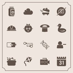 Modern, simple vector icon set with camera, jar, chain, cook, work, child, calendar, cloud, boiler, electricity, video, leisure, photo, account, film, hat, timetable, food, jam, helmet, heater icons