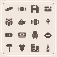 Modern, simple vector icon set with ball, retro, house, full, audio, electricity, paint, kid, cassette, baby, roll, white, music, computer, clothes, roller, pill, table, cone, business, diskette icons