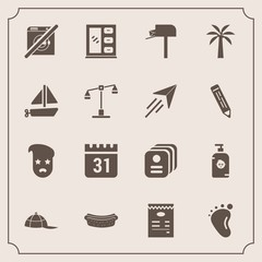 Modern, simple vector icon set with meat, post, day, child, interior, happy, small, newborn, wash, dinner, cabinet, home, mail, message, soap, food, baby, dont, cap, retro, mailbox, schedule, id icons