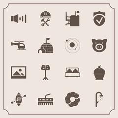 Modern, simple vector icon set with builder, musical, sailboat, shower, business, ship, volume, construction, sweet, helmet, travel, dessert, office, bath, desk, old, industry, hygiene, boat icons
