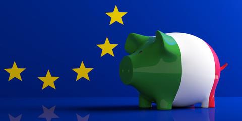 Italy flag piggy bank on EU flag. 3d illustration. 3d illustration