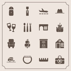 Modern, simple vector icon set with dessert, caravan, real, sweet, seasoning, hygiene, wine, smart, vacation, health, glass, time, chair, liquid, armchair, journey, comb, spice, drink, hat, cake icons