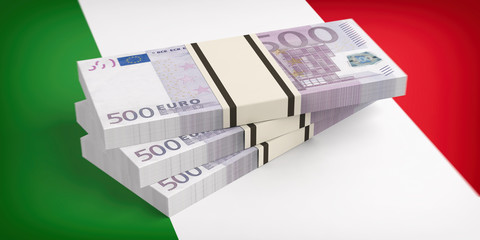 Italy, economy crisis. Euro banknotes on Italy flag. 3d illustration. 3d illustration
