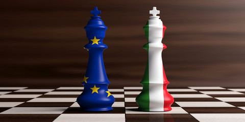 European Union and Italy flags on chess kings on a chess board, wooden background. 3d illustration