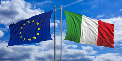 Italy and European Union flags waving, opposite direction, on blue sky background. 3d illustration