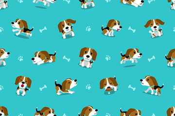 Vector cartoon character beagle dog seamless pattern