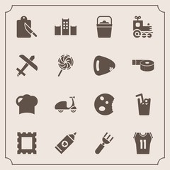 Modern, simple vector icon set with spoon, object, hygiene, drink, dessert, juice, bed, dinner, travel, train, bicycle, doughnut, picture, cycle, ride, photo, handle, frame, water, restaurant icons