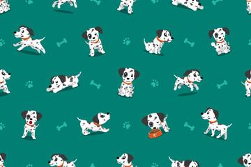 Vector cartoon character dalmatian dog seamless pattern