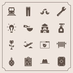 Modern, simple vector icon set with trousers, water, departure, web, website, hot, fashion, flower, fresh, clothes, spring, heater, clothing, hammer, travel, security, home, train, fruit, boiler icons