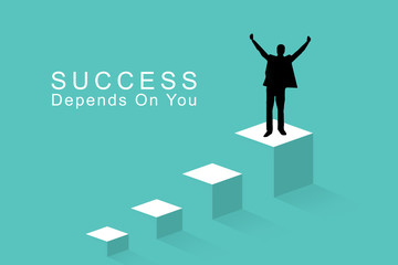 Business success concept, leadership, achievement and people concept - silhouette of businessman on top of a on the last step celebrating victory and triumph