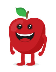 Vector illustration of red apple cartoon character. Fruit flat icon