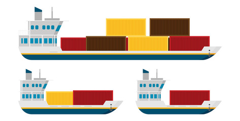 Cargo ships isolated vector illustration, flat style