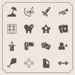 Modern, simple vector icon set with scuba, dice, healthy, technology, fitness, gas, gym, trumpet, sound, camera, casino, game, rocket, stove, island, can, sea, summer, music, beach, mask, sign icons