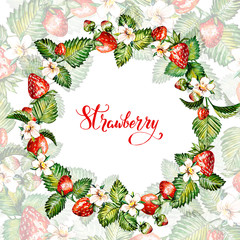Watercolor floral background with strawberries. Summer card. Frame with watercolor strawberries. Hand painted background.