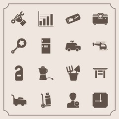Modern, simple vector icon set with construction, tea, data, lawn, cargo, japanese, privacy, delete, sand, breakfast, flight, shrine, delivery, japan, helmet, business, drink, hotel, plastic icons