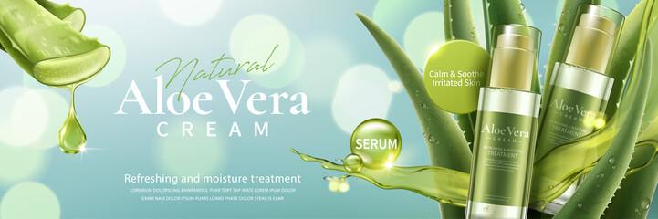 Fototapeta Aloe vera cream and spray ad obraz