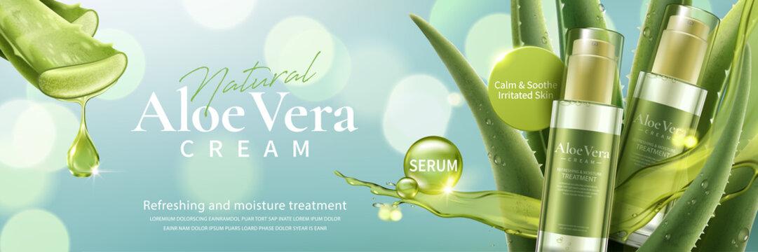 Aloe vera cream and spray ad