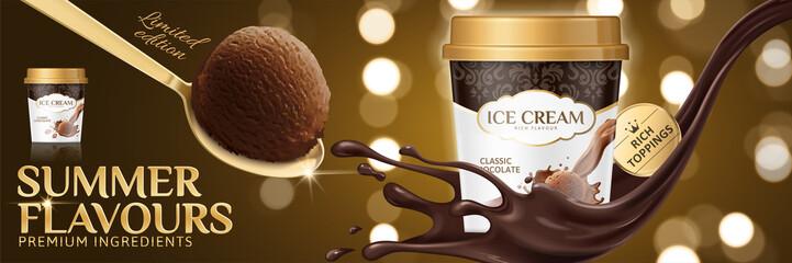 Premium chocolate ice cream cup