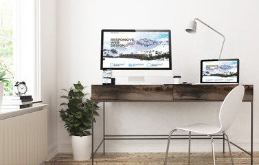 Wall Mural - home office devices  responsive design