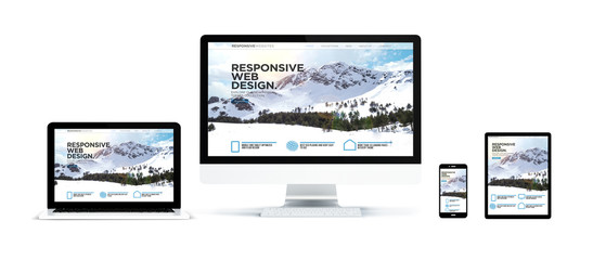 realistic devices isolated with landing responsive page