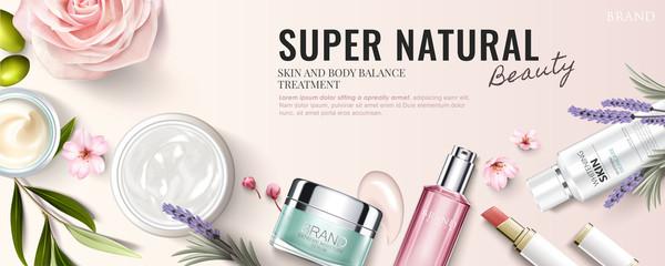 Fototapeta Cosmetic product banner ad obraz