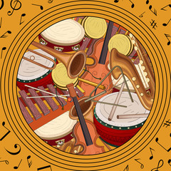Round background with notes and musical instruments.