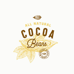Cocoa Beans Abstract Vector Sign, Symbol or Logo Template. Hand Drawn Cacao Bean with Premium Vintage Typography and Quality Seal. Stylish Classy Vector Emblem Concept.