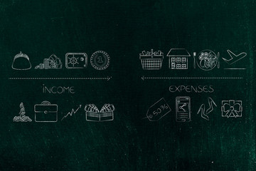 income icons from cash to safebox and investment stats vs expenses from housing to holiday food and shopping