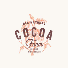 Cocoa Bean Farm Abstract Vector Sign, Symbol or Logo Template. Hand Drawn Cacao Bean Branch with Premium Vintage Typography and Quality Seal. Stylish Classy Vector Emblem Concept.