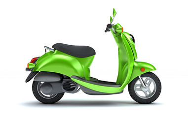 3D Rendering of green retro motor scooter isolated on white background. Side View of colorful Vintage Motorcycle